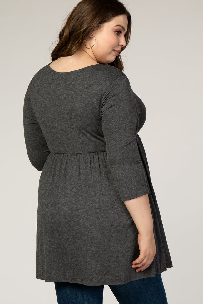 PinkBlush Charcoal Draped Front 3/4 Sleeve Maternity/Nursing Plus Top