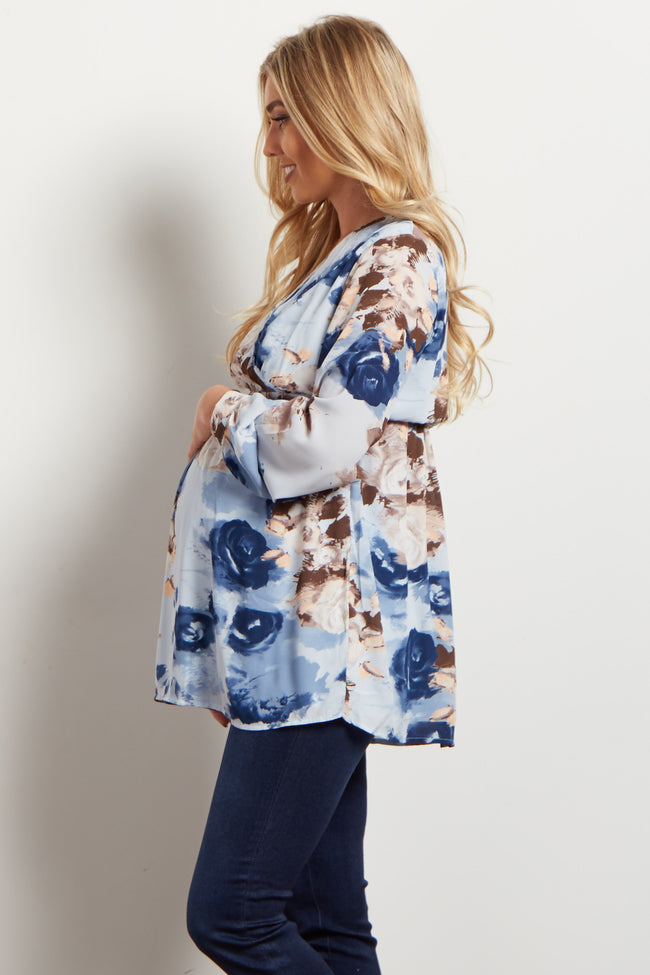 Light Blue Floral Chiffon Maternity Wrap Top