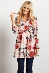 Light Pink Floral Chiffon Maternity Wrap Top