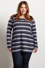 Blue Striped Soft Plus Maternity Sweater