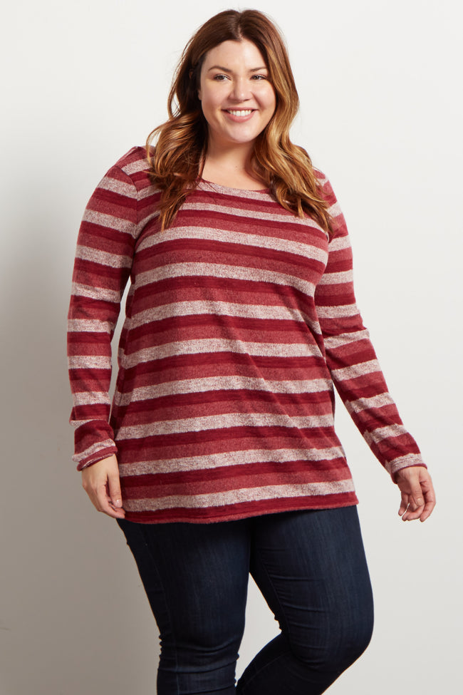 Burgundy Striped Soft Plus Sweater