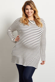 White Striped Button Collar Soft Knit Plus Maternity Top