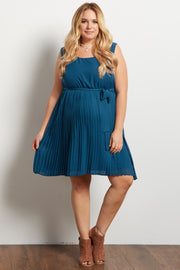 Teal Pleated Sash Tie Plus Maternity Dress