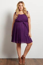 Purple Pleated Sash Tie Plus Maternity Dress