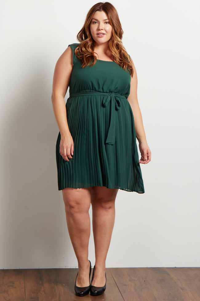 Forest Pleated Sash Tie Plus Maternity Dress