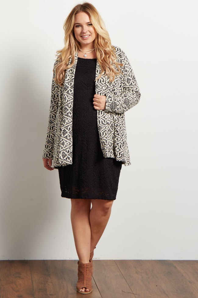 Black Tribal Knit Plus Maternity Cardigan