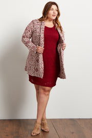 Burgundy Tribal Knit Plus Cardigan