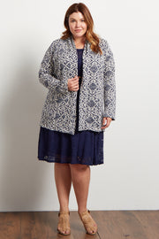 Navy Tribal Knit Plus Cardigan