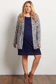 Navy Tribal Knit Plus Maternity Cardigan