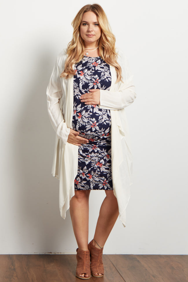 Ivory Long Flowy Plus Maternity Cardigan