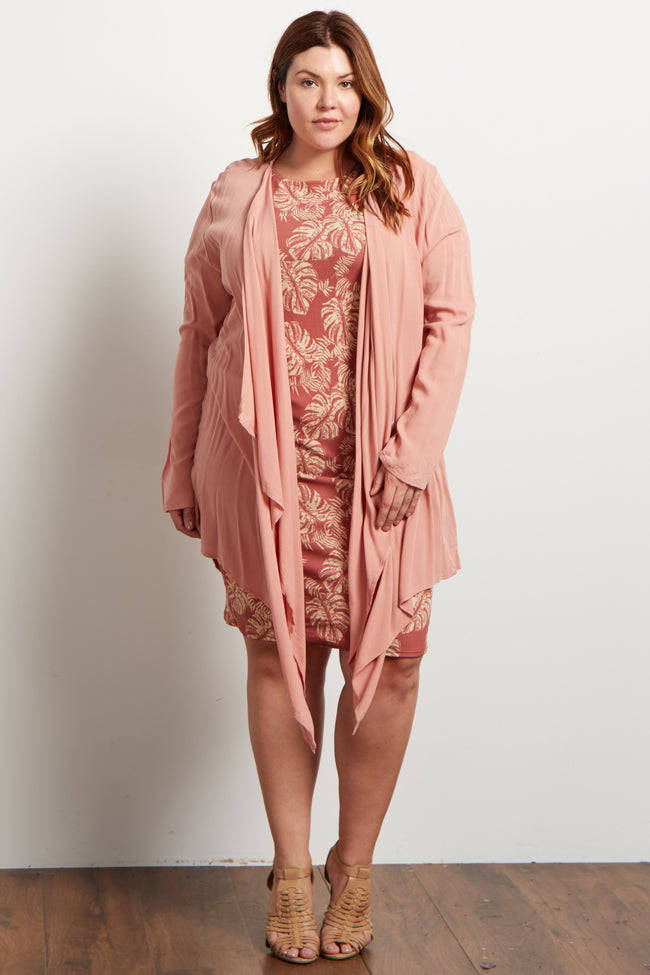 Dusty Pink Long Flowy Plus Cardigan
