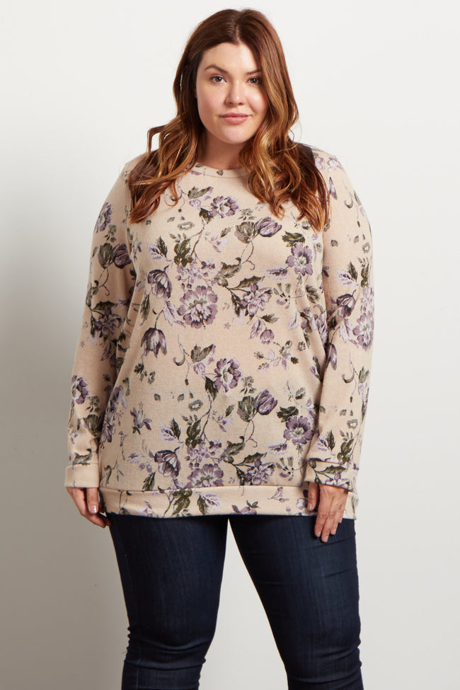 Ivory Floral Long Sleeve Plus Sweater