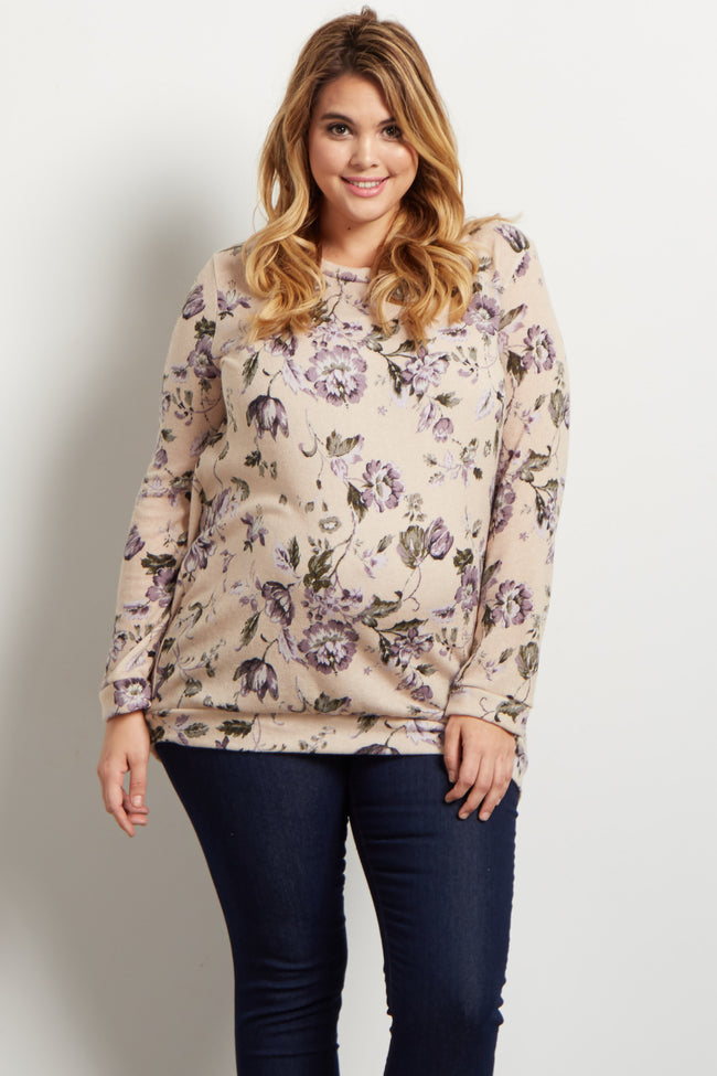 Ivory Floral Plus Maternity Sweater