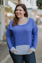 Blue Sweater Plus Top