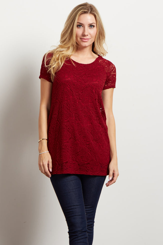 Burgundy Lace Rosette Overlay Short Sleeve Maternity Top