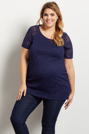 Navy Lace Rosette Overlay Plus Maternity Top