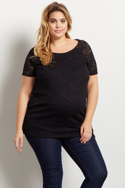 Black Lace Rosette Overlay Short Sleeve Plus Maternity Top