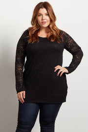 Black Lace Rosette Overlay Long Sleeve Plus Top