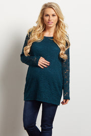 Green Lace Rosette Overlay Long Sleeve Maternity Top