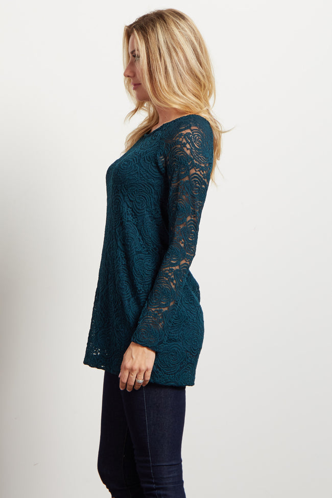 Green Lace Rosette Overlay Long Sleeve Top