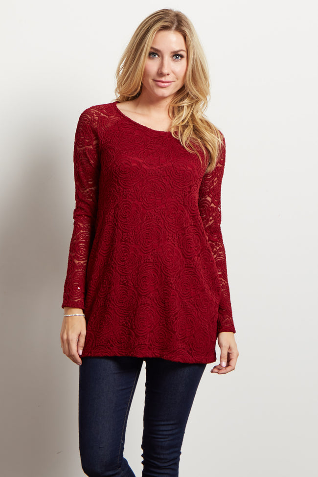 Burgundy Lace Rosette Overlay Long Sleeve Maternity Top