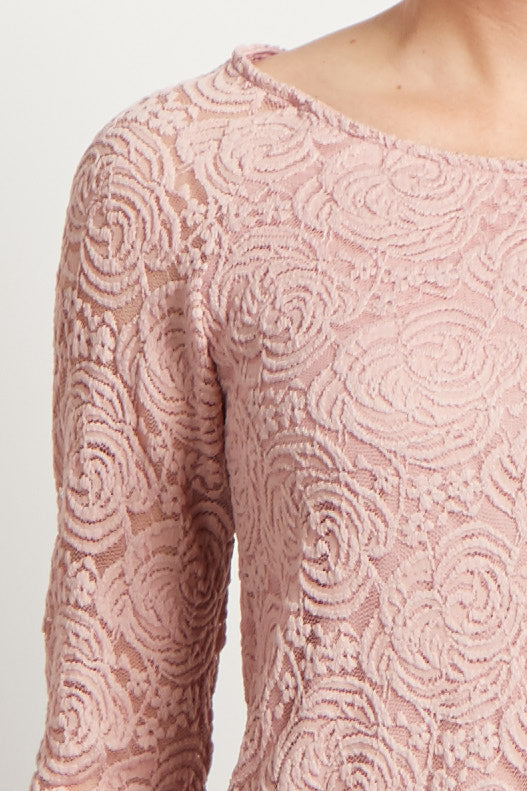 Mauve Lace Rosette Overlay Long Sleeve Top