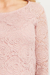 Mauve Lace Rosette Overlay Long Sleeve Maternity Top