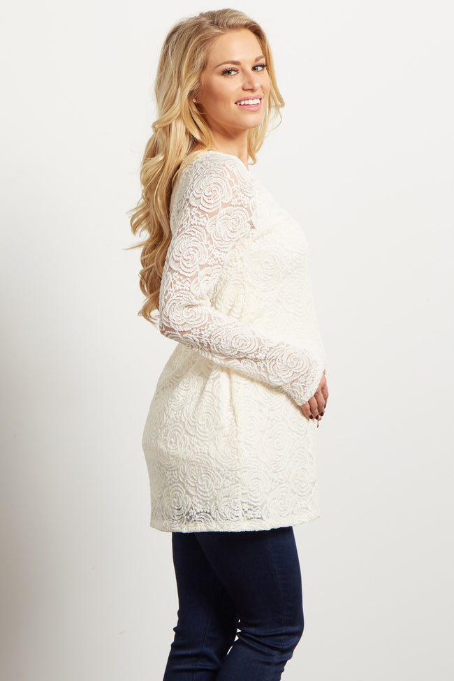 Ivory Lace Rosette Overlay Long Sleeve Maternity Top