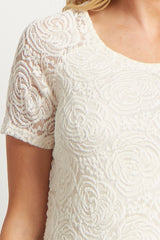 Ivory Lace Rosette Overlay Short Sleeve Maternity Top