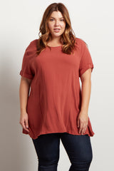 Faded Coral Cuffed Sleeve Crepe Plus Top