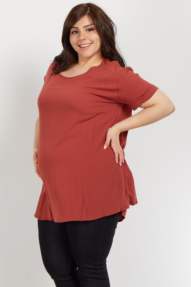 Faded Coral Cuffed Sleeve Crepe Maternity Plus Top