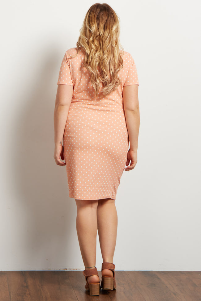 Light Pink Polka Dot Fitted Maternity Plus Dress