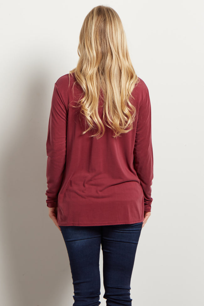 Burgundy Basic Keyhole Cutout Maternity Top