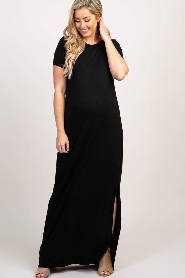 PinkBlush Black Basic Side Slit Maxi Dress