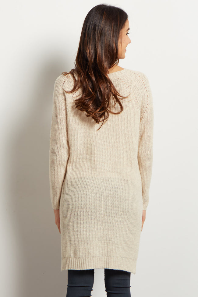 Beige Long Sleeve Hi-Low Knit Maternity Sweater