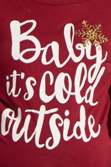 Burgundy Baby It's Cold Outside Graphic Maternity Top