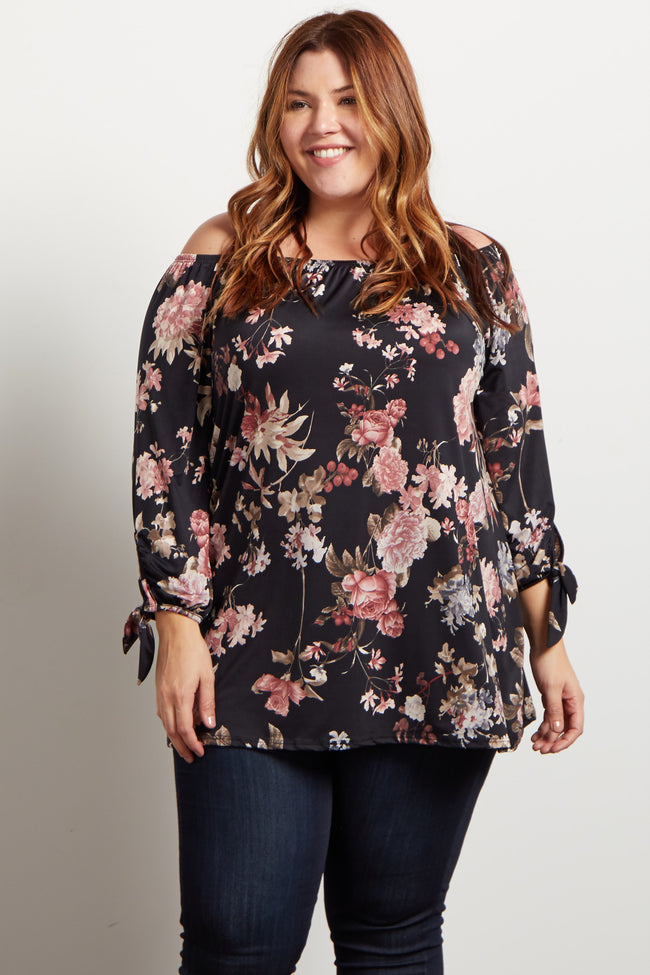 Black Floral Off Shoulder Plus Maternity Top