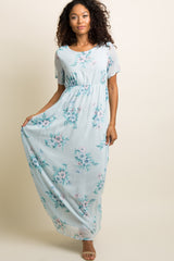 Blue Floral Chiffon Maxi Dress