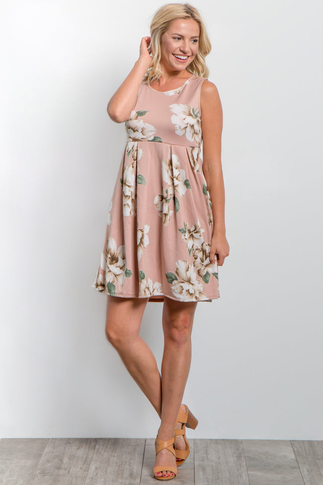 Pink Floral Pleated Maternity Dress