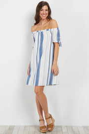 Blue Striped Off Shoulder Dress