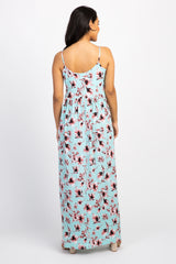 Mint Floral Printed Maternity Maxi Dress