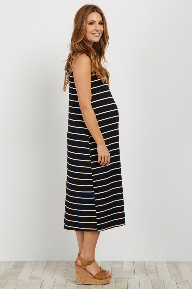Black Striped Ribbed Maternity Midi Dress