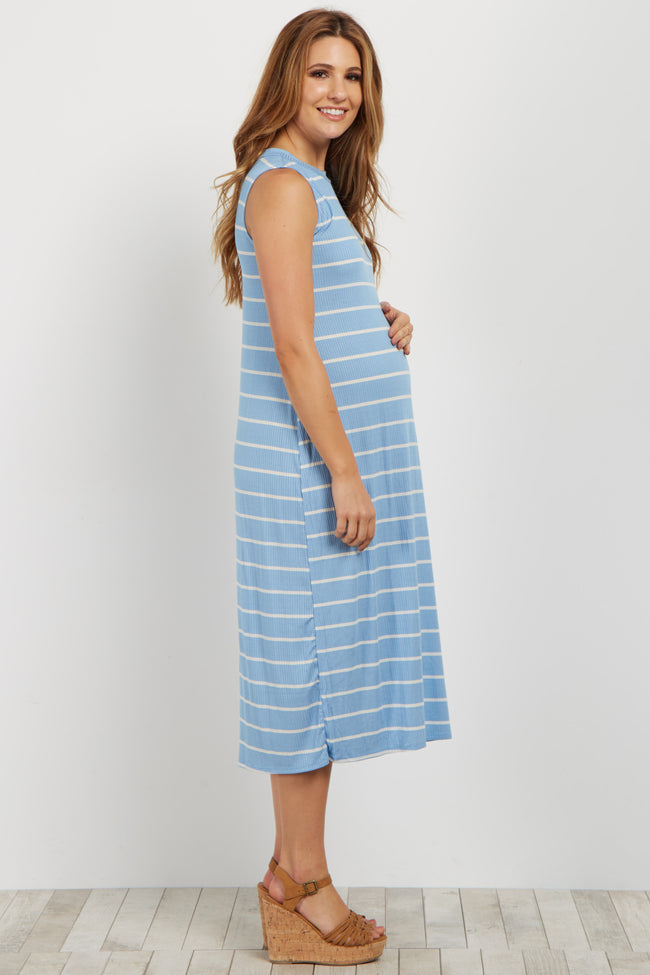 Blue Striped Ribbed Maternity Midi Dress
