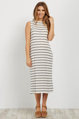 White Striped Ribbed Maternity Midi Dress
