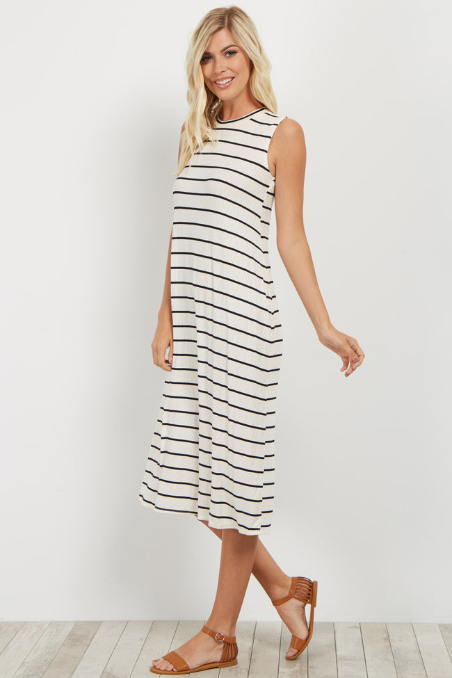 White Striped Ribbed Midi Dress