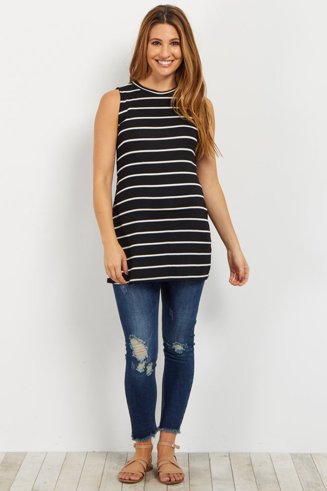 Black Striped Mock Neck Maternity Top