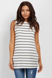 White Striped Mock Neck Maternity Top