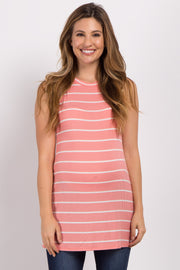Pink Striped Mock Neck Maternity Top