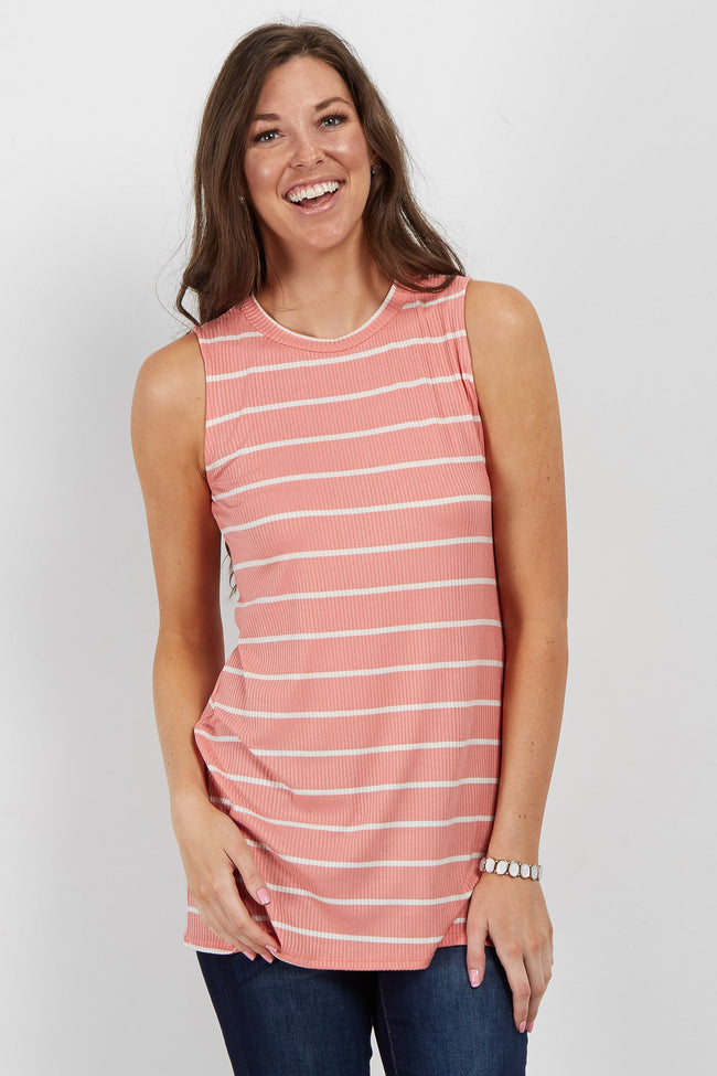 Pink Striped Mock Neck Top