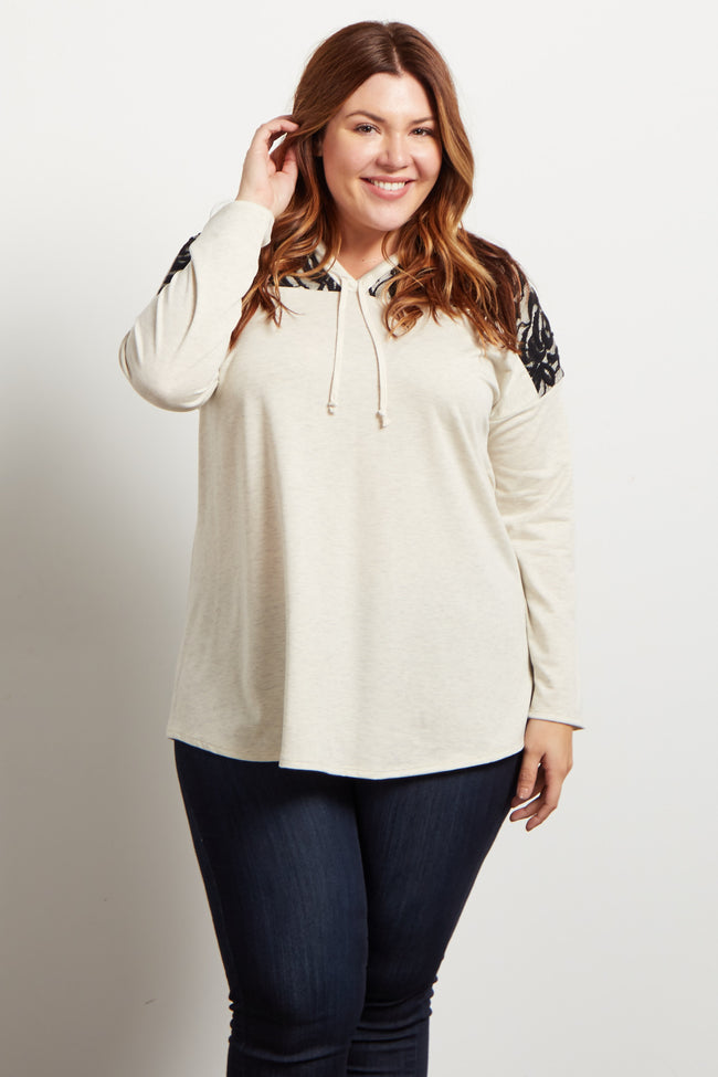 Beige Lace Accent Hooded Knit Plus Top